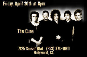 RockWalk Induction: The Cure, Friday, April 30th at 8pm